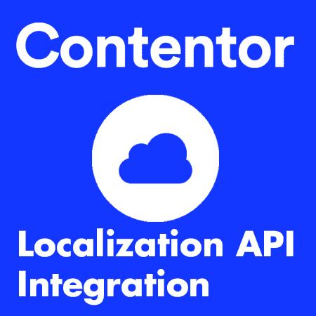"""Grafisk bild i blått med ett moln och det står """"Contentor"""", """"Localization API Integration"""""""
